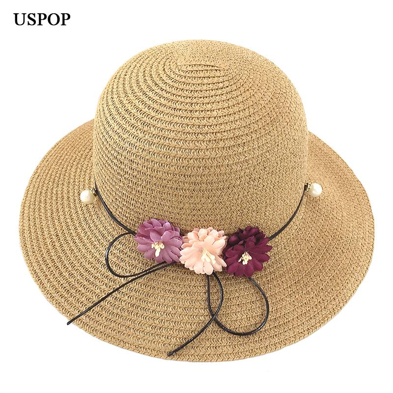 506ddd65faca84 USPOP 2018 New Fashion Flower Sun Hats Hand Made Straw Bucket Hats Wide  Brim Sun Casual Shade Summer Woman Beach Hat Stetson Hats Cowboy Hats From  Yuijin, ...