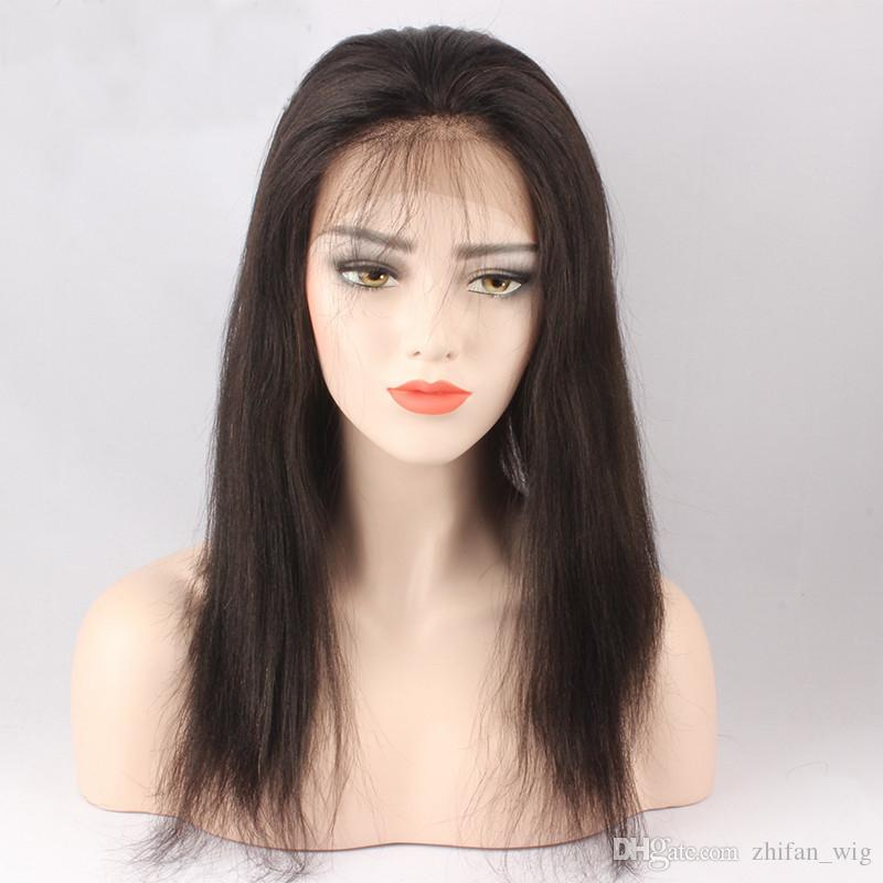Z&F 100% Human Hair Lace Wigs Nature Black Color Long Straight Full Lace Wig 24 inch Hand Made