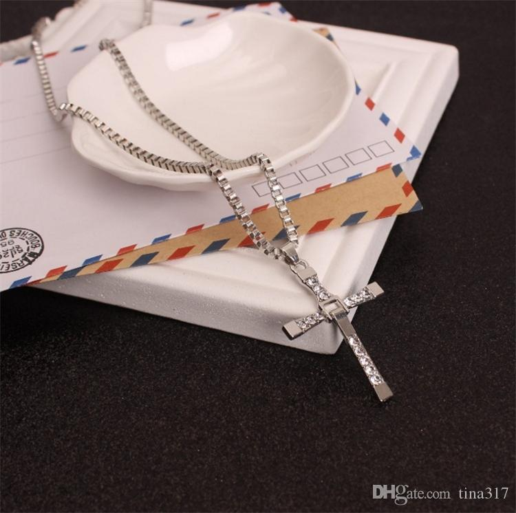 Man Punk Necklace Male Cool Cross Necklace Choker Link Silver Gold color Stainless Steel Cross Charm Jewelry Pendent C0156