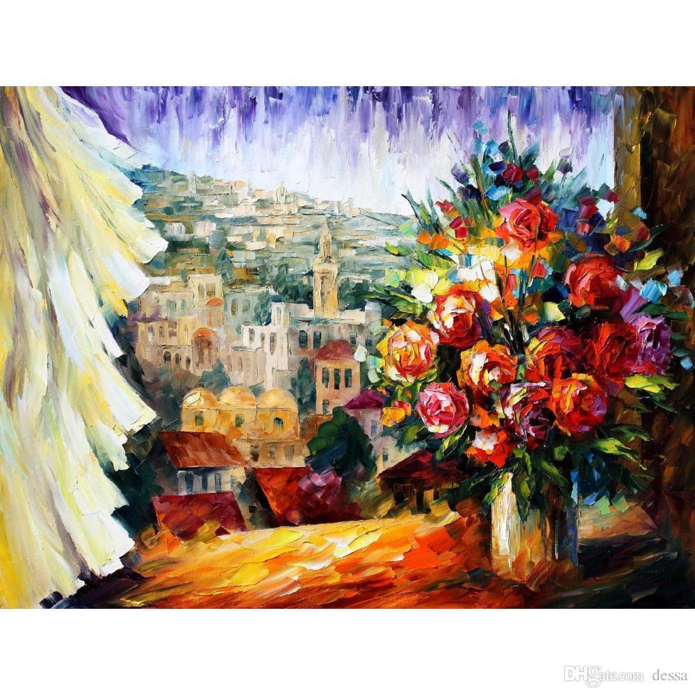 Lieblings Großhandel Handgemachte Bunte Malereien Leonid Afremov Blumen Von &YJ_72