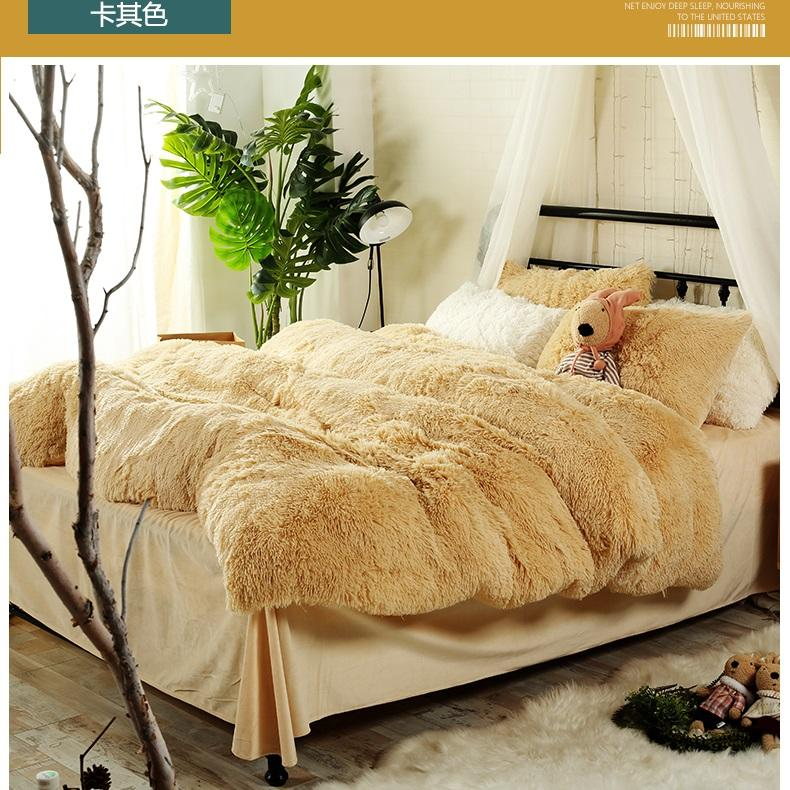 new york a3253 6ad42 13 Solid Color Styles Children Bedding Sets Luxury 4pcs Soft Fluff Bed  Sheet Princess Duvet Cover Bedspread Bedclothes Bed Linen