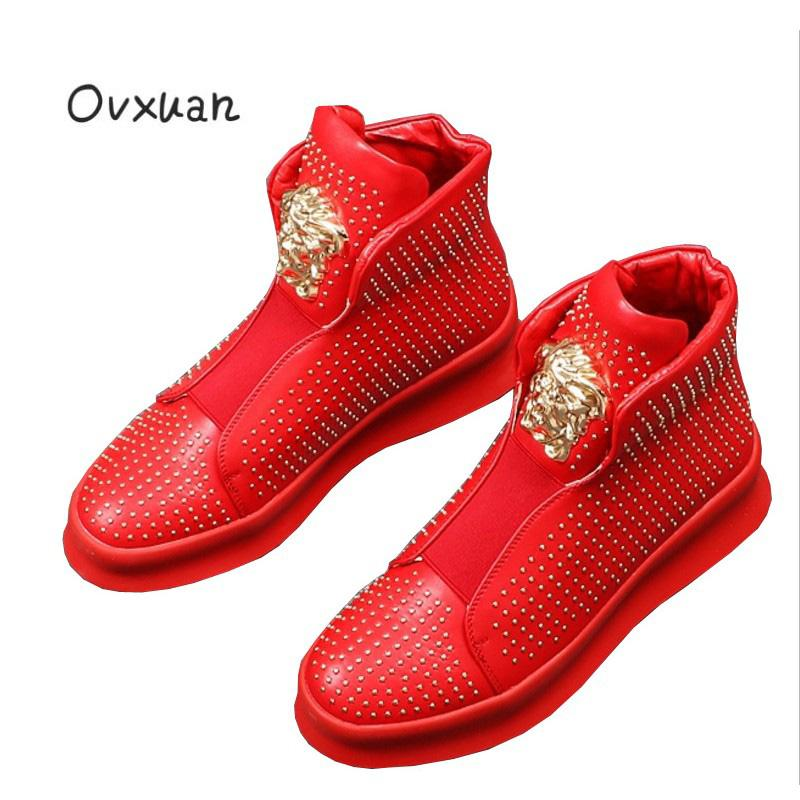 2d607aa704856 Ovxuan Metal Lion Face Red Ankle Shoes Men Loafers Dot Rivets Man Flats  Party Men s Dress Shoes Casual slip on