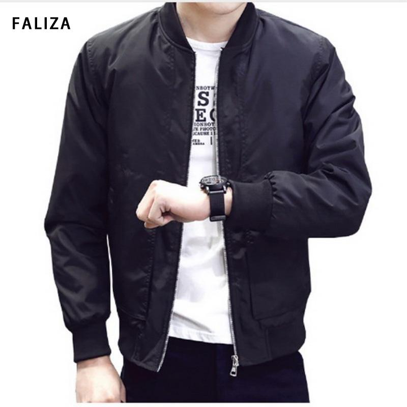 42cc75ae0ff FALIZA Fashion Male Jacket Coat Men 2018 Spring Autumn Bomber Jacket Men  Overcoat Baseball Jackets Men S Streetwear JKR Baseball Leather Jackets  Versus ...