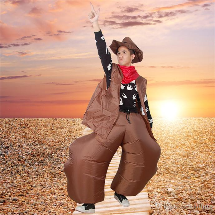2018 Halloween Inflatable Cowboy Costume For Adult Men And Women Cowgirl Ole Cow Cosplay Funny Dress Blow Up Suit Birthday Gifts Kids Discount