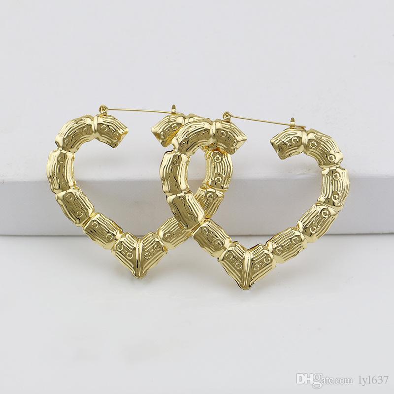Sección de bambú patrón corazón aro pendientes exagerar chapado en oro hoja de hierro pendientes mujeres 2018 nueva joyería de moda al por mayor envío gratuito