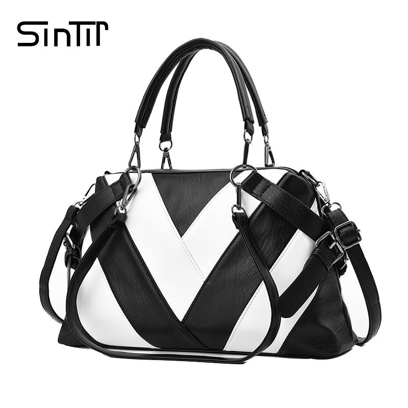 sintir famous brand fashion striped black white big tote women Leather Furniture sintir famous brand fashion striped black white big tote women shoulder bags vintage high quality soft leather ladies handbag leather bags for women womens