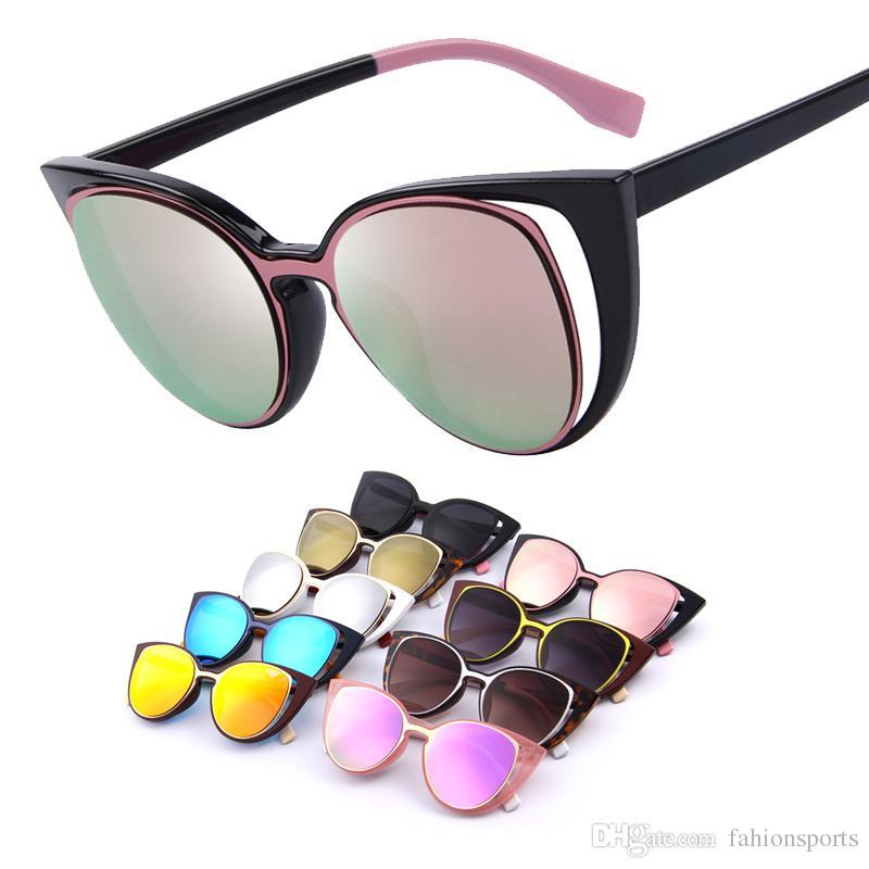 0bff353ee Cat Eye Sunglasses Fashion Women Brand Designer Retro Pierced Female ...
