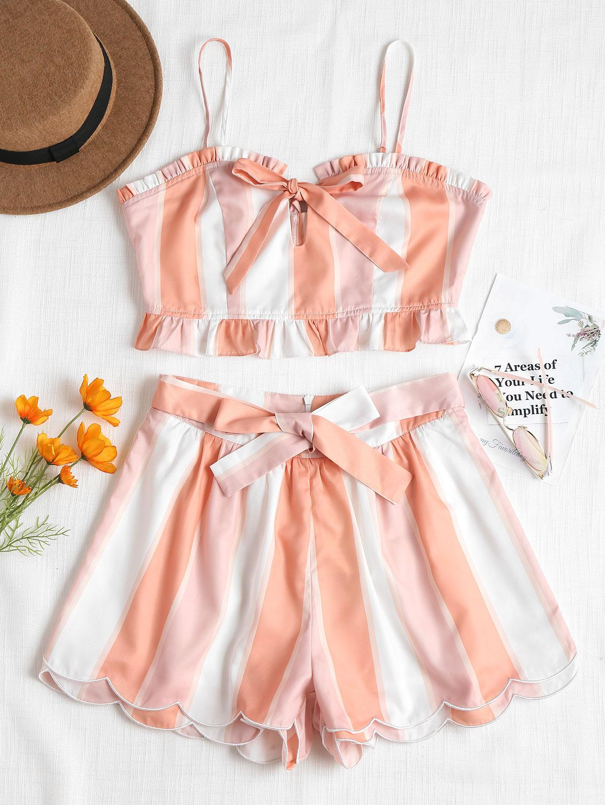 84c4a09de4868 STYLE Bow Knot Stripe Cropped Top Scalloped High Waist Shorts Ruffles  Halter Strap Camis Zip Up Hem Mini Shorts Beach Suit From Hermanw