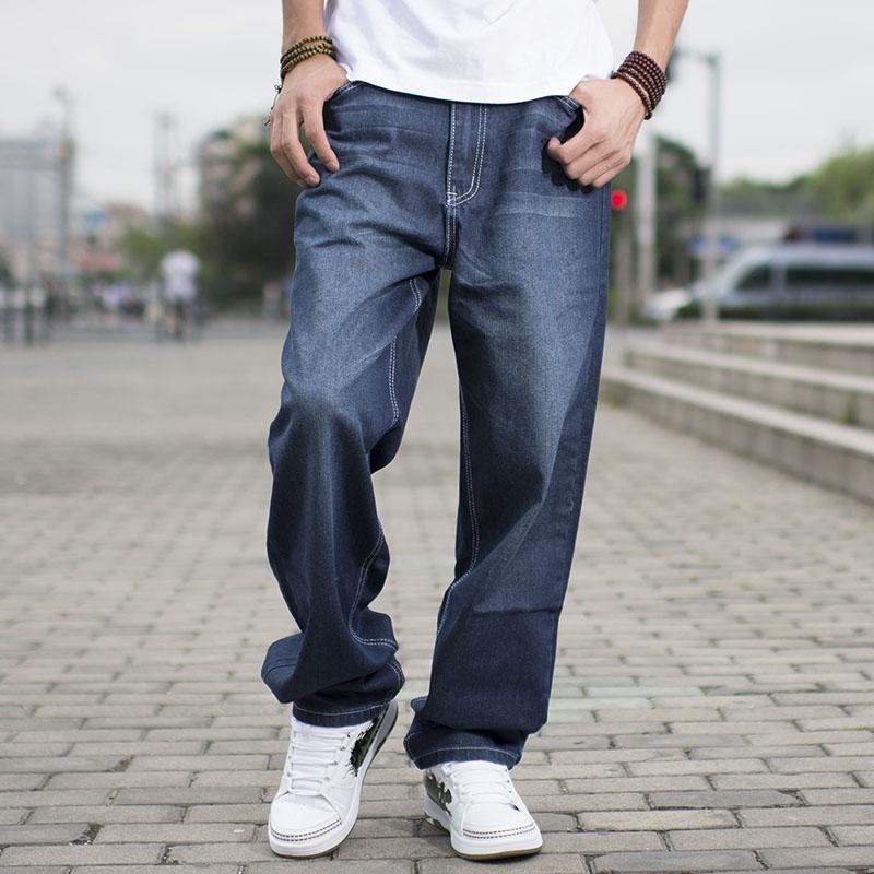 Acquista Hip Hop Skateboard Rilassati Uomini Di Marca Grandi Jeans Larghi  Ragazzi Ragazzi Jeans Lunghi Pantaloni Larghi Larghi Harem Uomo Plus Size  40 42 44 ... 9cd5fba8e8ed