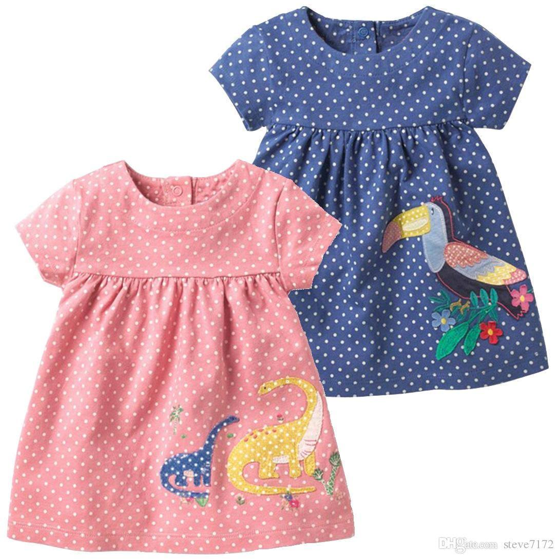 3e5856ffa66bc Fashion Baby Girls Dresses Children Clothes Girl's Blouses Jumpers Dino  Outfit Birn Dot Clothing Toddler One-Piece Dress 1-4Year