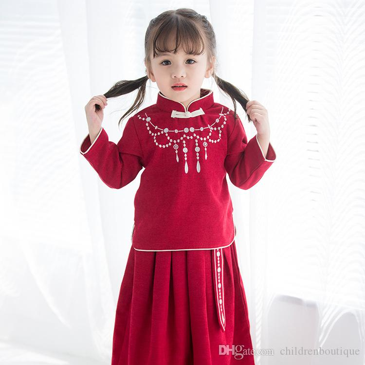 f6dbf42c0b7241 2019 Chinese Style Baby Girls Clothes Sets Retro Students Outfits 2018  Chinese New Year Suits Costumes Sweet Cheongsam+Skirt For Baby Girls From  ...