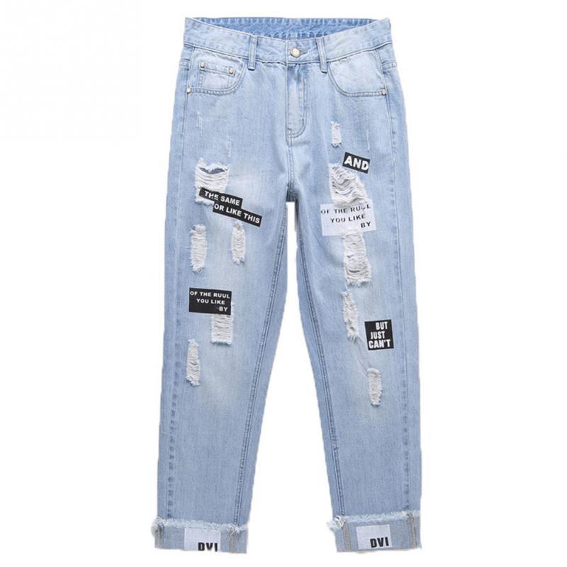 2c2d2ad845 Compre Chicas De Moda Streetwear Pantalones De Mezclilla Primavera Otoño  Noveno Pantalón Agujero Rasgado Jeans Mujer Suelta Pantalones De Harem  Delgado A ...