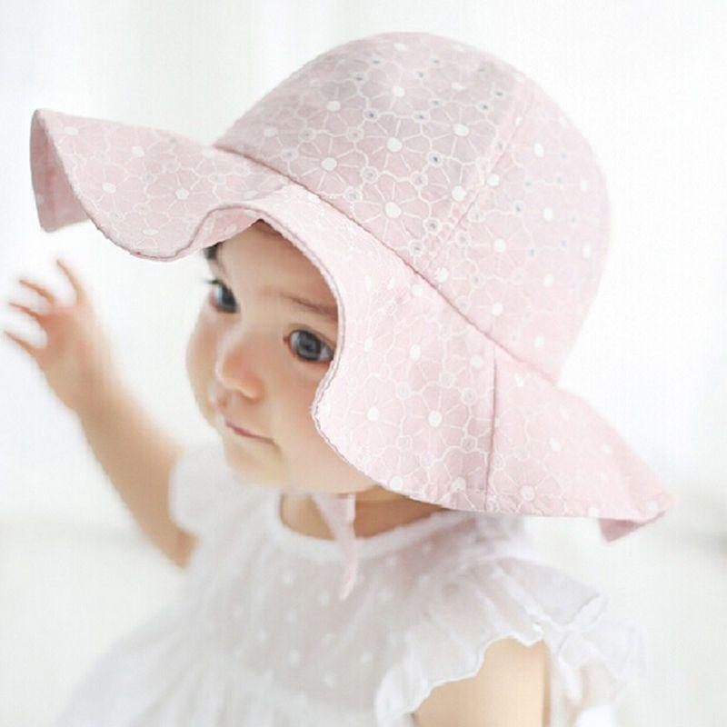 93d37251dae Toddler Children Baby Girls Sun Hats Spring Summer Caps Polka Dots ...