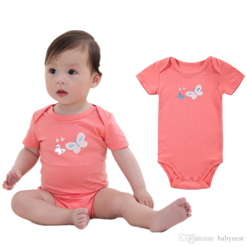 36c4c37e04e80 2018 Baby Girl S Cartoon Embroidery Rompers 100% Cotton High Quality  Interlock Fabric Pajamas Short Sleeve Four Colors From Babynest