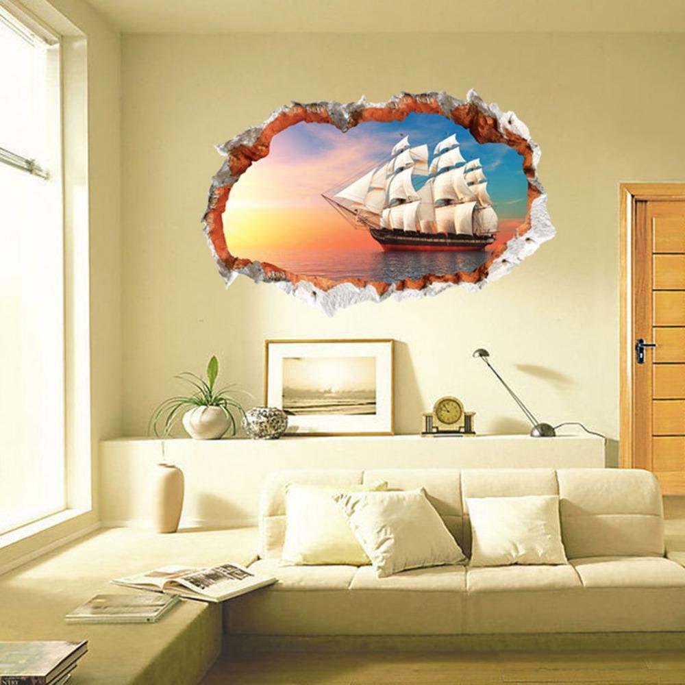 3d Broken Wall Sea Sailing Wall Sticker Home Decorative Mural Art ...