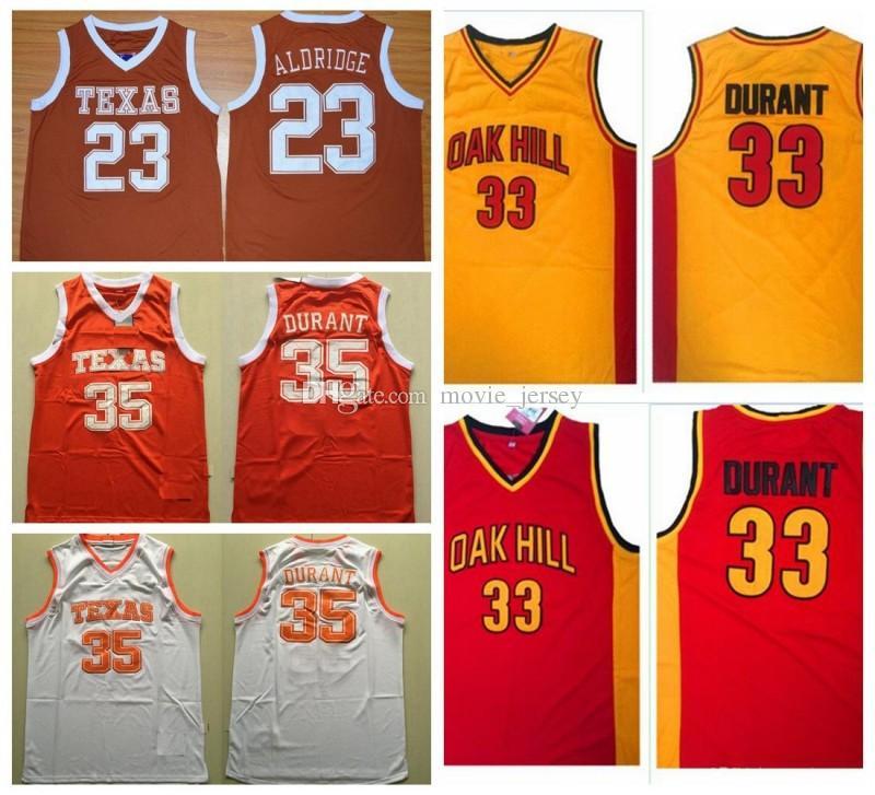 98ac24430 2019 Texas Longhorns College Basketball Jerseys 35 Kevin Durant 23 Lamarcus  Aldridge Shirts Cheap Oak Hill High School Stitched Basketball Jersey From  ...