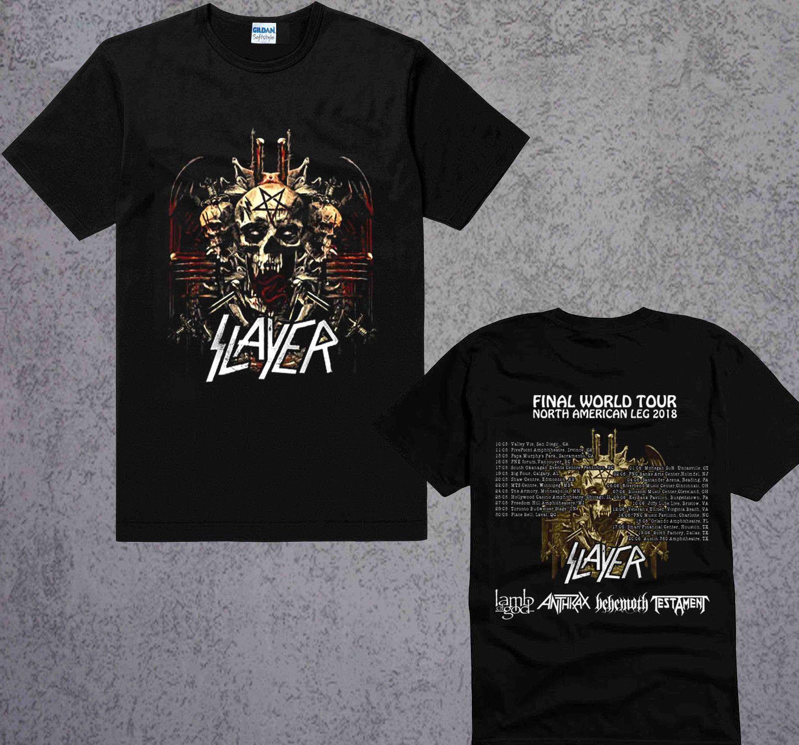 f6fe6ad8eca Slayer T Shirt Final World Tour 2018 North America Leg Lamb Of God Size S To  3XL 100% Cotton Short Sleeve Tshirt Tops High Quality Cotton Tshirt And  Shirt ...