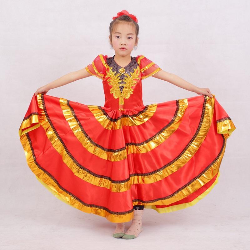 917ff2eb29a Acheter Rouge Noir Enfant Espagnol Danse Robes Costume Robe Flamenco Pour  Les Filles Espagne Pour Enfants Jupes Robe Pas Cher Vêtements Châle De   35.59 Du ...
