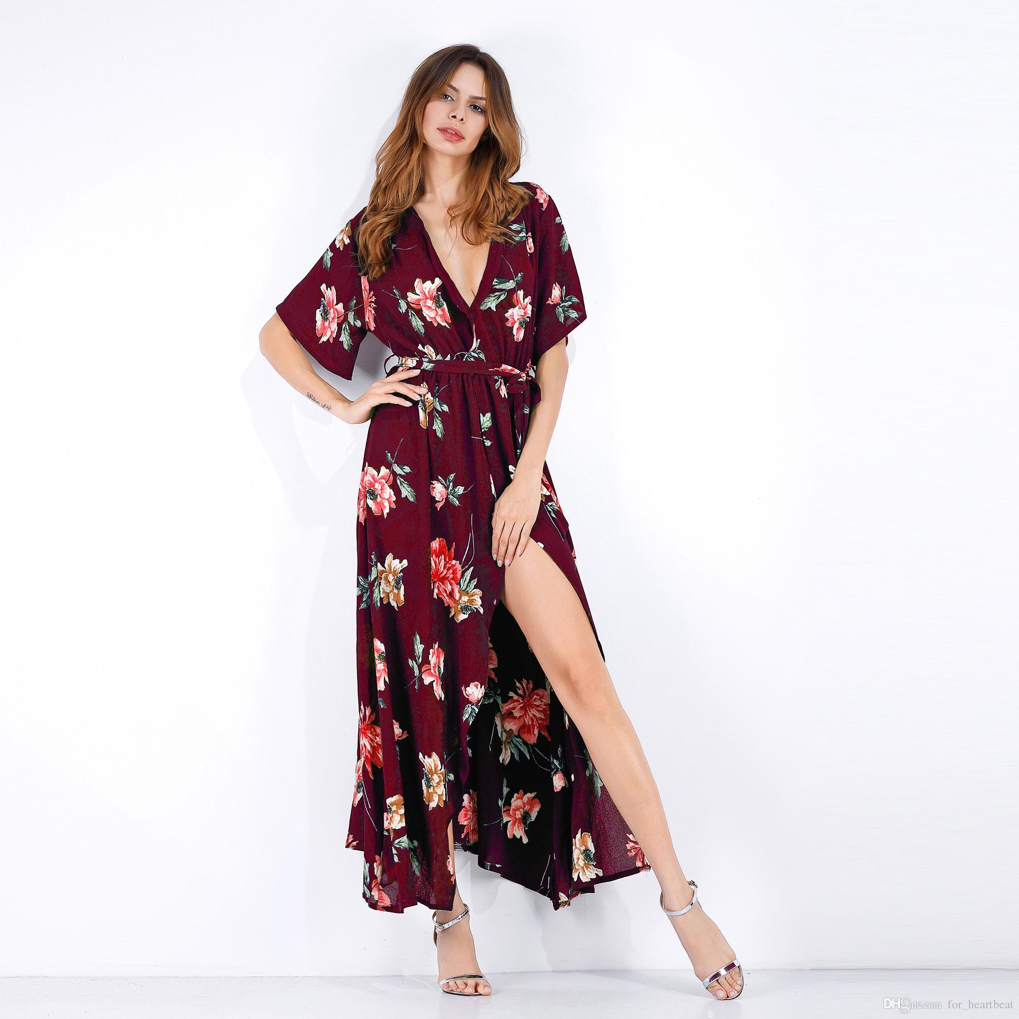 a53c8b5485 Gifts For Women Mom Dresses Boho V Neck Floral Printed Long Dress Short  Sleeve Split Lace Up Summer Skirt Sexy Beach Long Evening Dresses Velvet  Dress From ...