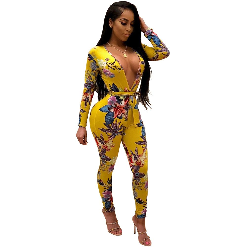 318fe4123217 2019 Dashiki Jumpsuits For Women 2018 New Sexy Bodycon Floral Jumpsuit Deep  V Neck Long Sleeve Sash Bandage Rompers Combinaison Femme From Kennethy