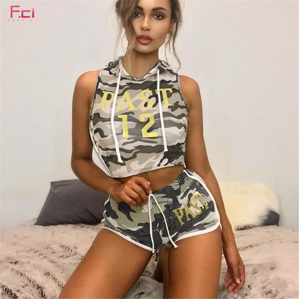 5062d464ae833 FRECICI Women Summer Camouflage Tracksuit Sleeveless Hooded Crop Top With  Camo Shorts Female Workout Outfits Sporting Suit UK 2019 From Berniee