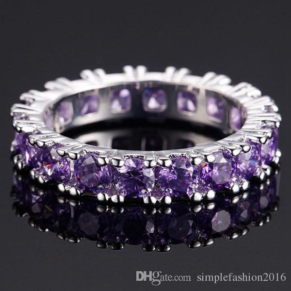 Anello in argento sterling 925 con gemme e diamanti le donne