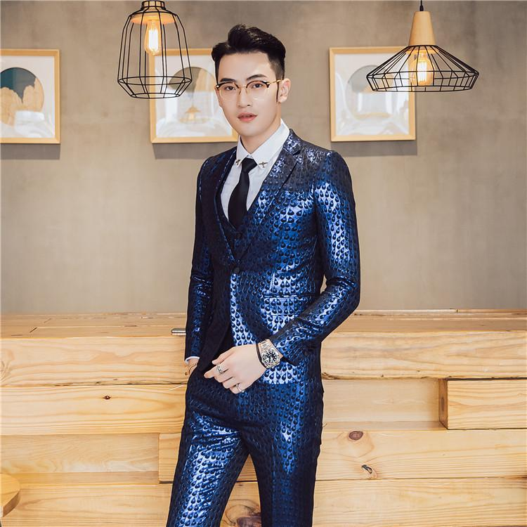 5565f30d94e 2019 2017 Mens Party Suits Gold Blazers Terno Masculino Slim Fit Night Club  Outfits DJ Stage Costume Shiny Suits Men Royal Blue Dress From Clothfirst