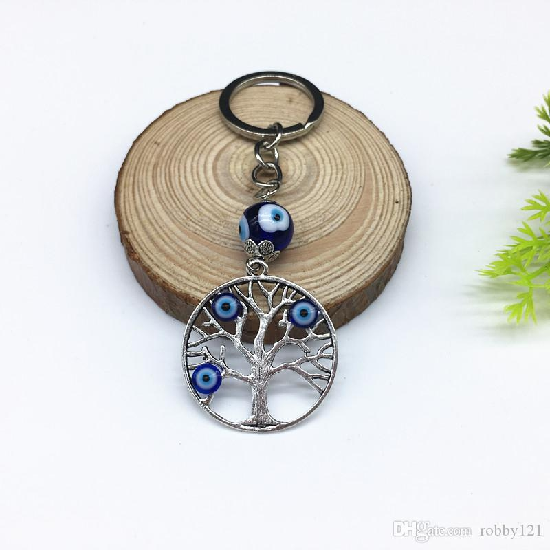 New Arrival Good luck Gift Turkish Evil Eyes Zinc Alloy Hollow Life of Tree Charm Key chains Women Men Jewelry