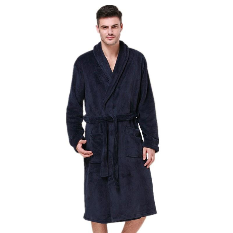 60% discount utterly stylish official store High Quality Coral Velvet Robe For Male Winter Warm Kimono Bathrobe Gown  Navy Blue Sleepwear Long Casual Nightgown Nightwear
