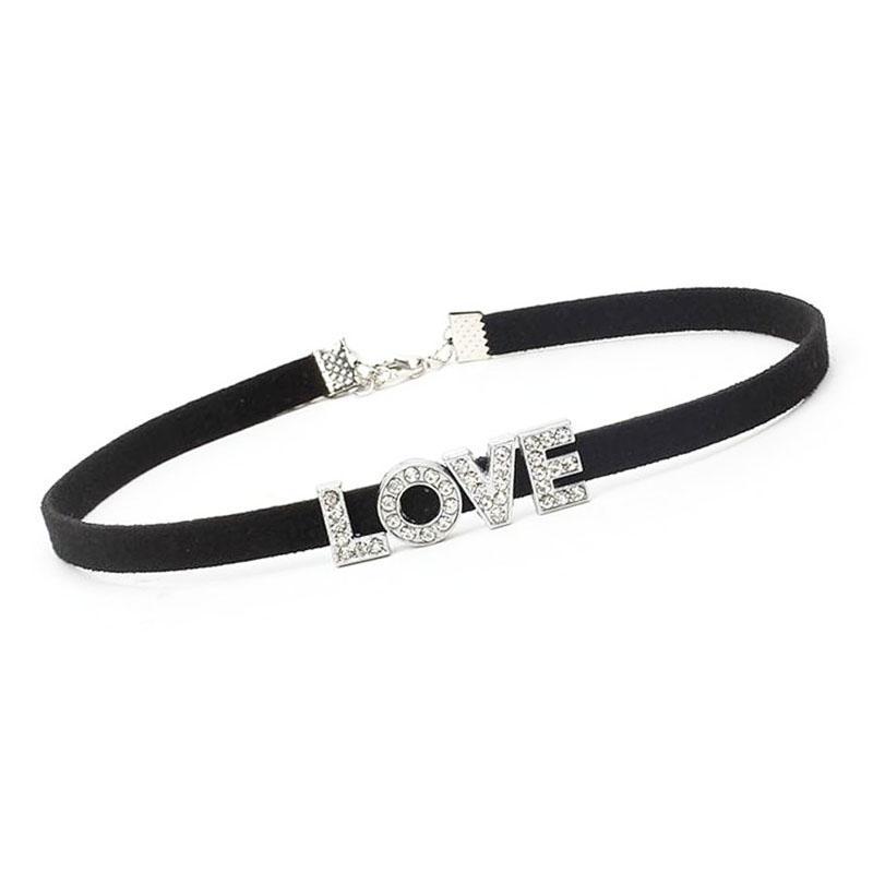 Laço preto de veludo choker colar eu te amo slide charme colares para mulheres presente declaração colar de dia dos namorados jóias