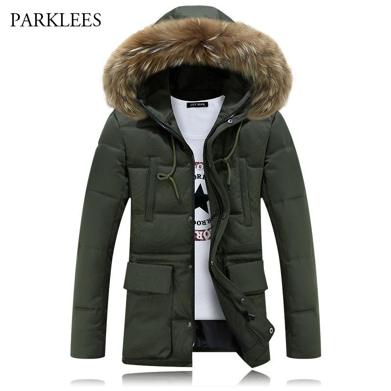 2725a55cae64 2019 Long Hoooded Parka Men 2017 Warm Winter Jacket Men Fashion Brand Design  Solid Manteau Homme Hiver Big Fur Outwear Army Green 4XL From Rebecco