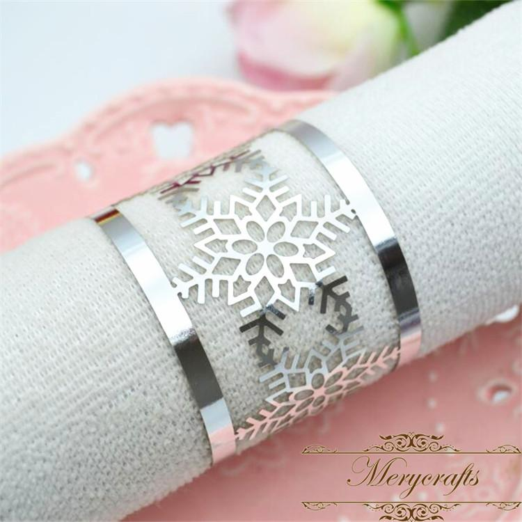 Winter Theme Party Laser Cut Silver Snowflakes Christmas Napkin Ring