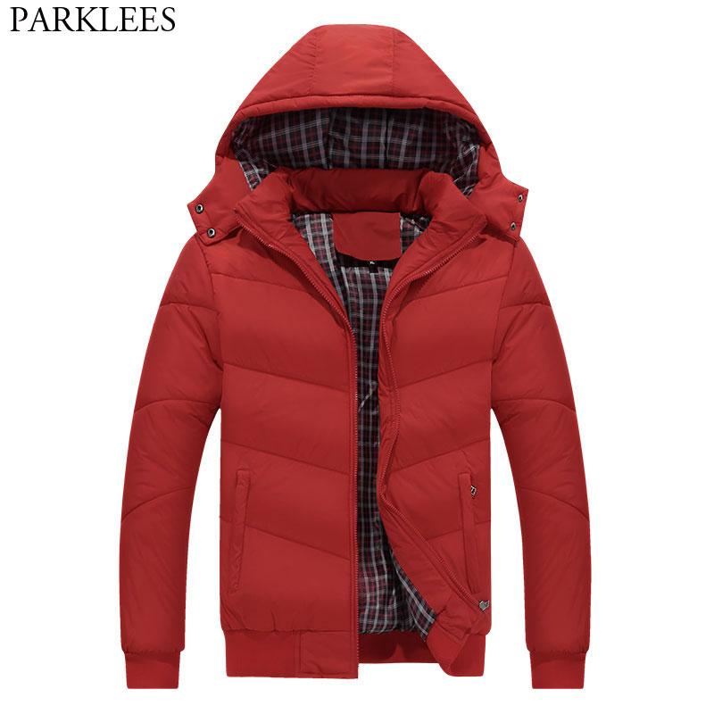6b588cae18b7b 2019 New Trend Red Winter Hooded Jacket Men 2018 Brand New Cotton Padded  Park Homme Hat Detachable Fashion Mens Coats Jackets Outwear From  Smotthwatch