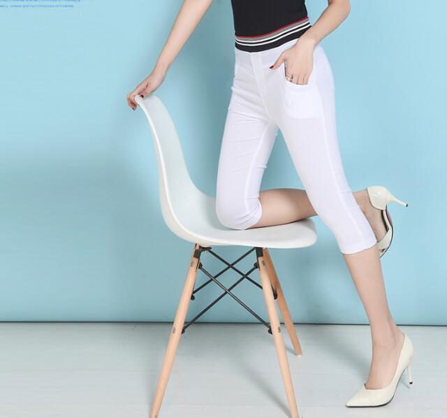 2017 Nuevos Pantalones de Las Mujeres de Moda de Verano Pantalones Lápiz Casuales Estiramiento Flaco Pantalones de Cintura Alta Capris Más El Tamaño 2XL-6XL Empalme