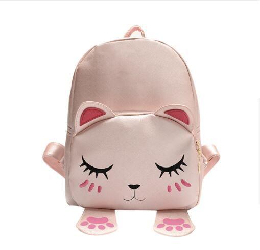lovely cartoon cat backpack pu leather backpack women mini school bags for teenage girls mini travel rucksack mochila bolsas camera backpack back packs from