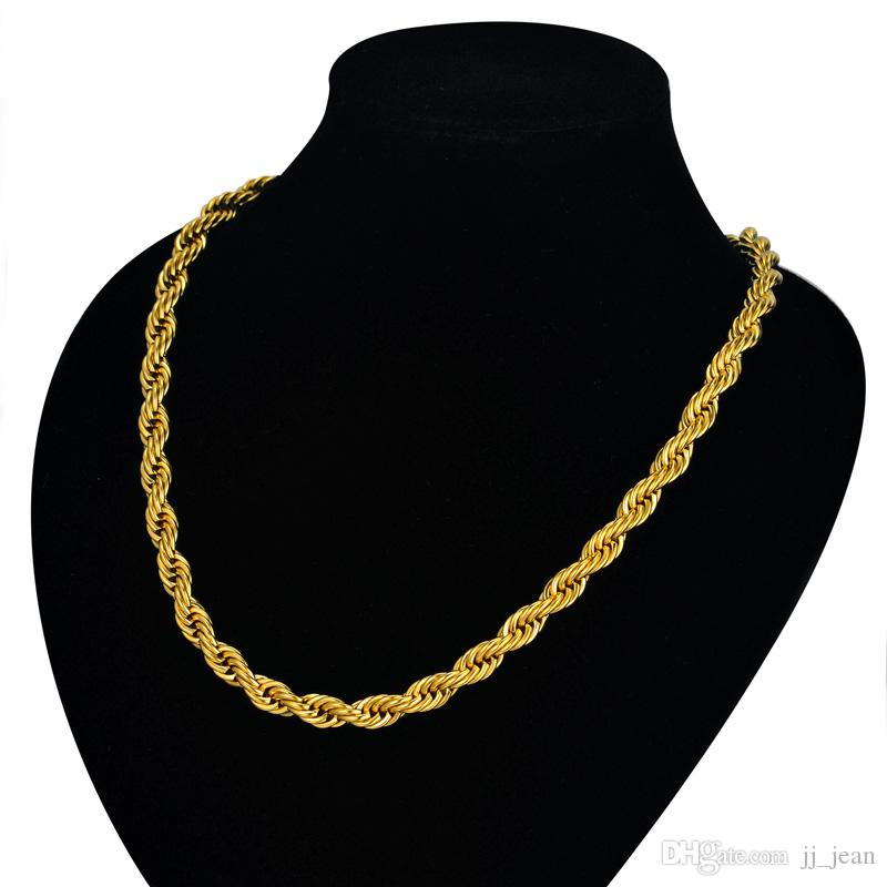 24K Gold Filled Necklace For Men Heavy Charming Fine Jewelry Long / Choker 5MM All'ingrosso corda Hip Hop Catena a maglia cubana Vendita calda limitata