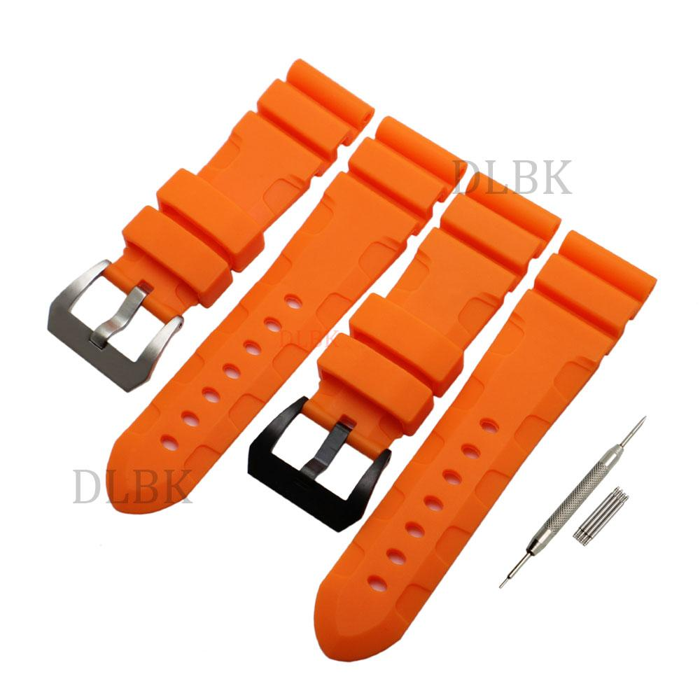 3c4aeba5032 24mm 26mm Buckle 22mm Men Orange Diving Silicone Rubber Watch Band Strap  Sport Bracelet Strap Stainless Steel Buckle For Panerai LUMINOR Watch Strap  Watch ...