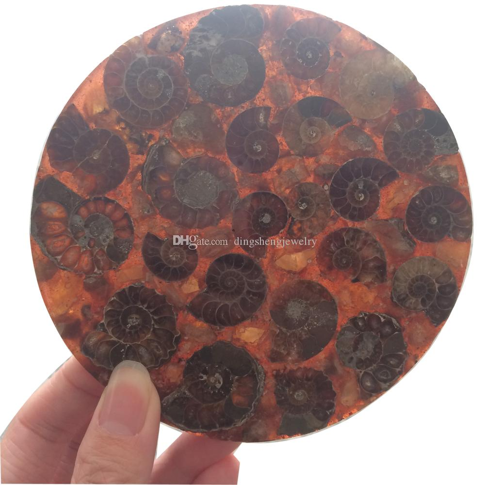 DingSheng Brown Ammonite Fossil Slice Coaster Natural Jadify Crystal Plate Shell Conch Snail Jade Quartz Stone Cup Mat Mineral Specimen