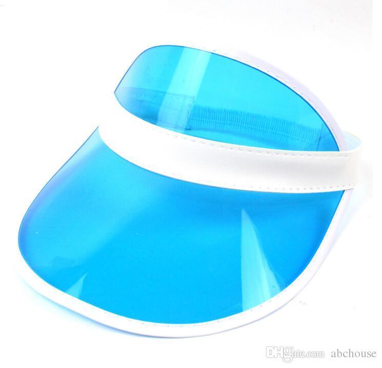 sun visor sunvisor party hat clear plastic cap transparent pvc sun hats sunscreen hat Tennis Beach elastic hats