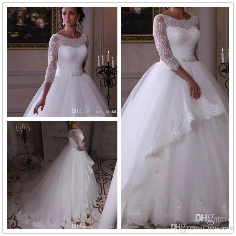 992b8f90e73a Discount 2018 Princess Wedding Dresses A Line Scoop 3 4 Long Sleeve Sweep  Train Bridal Gowns With Lace Applique Beaded Sash Plus Size Sheath Wedding  Dresses ...