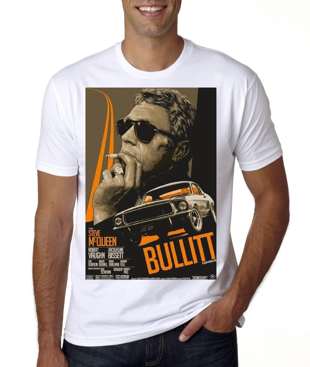 f9a98bd0c8f STEVE MCQUEEN BULLITT POSTER Short Sleeve T Shirt Buy A T Shirt The Coolest  T Shirts From Caisemao05
