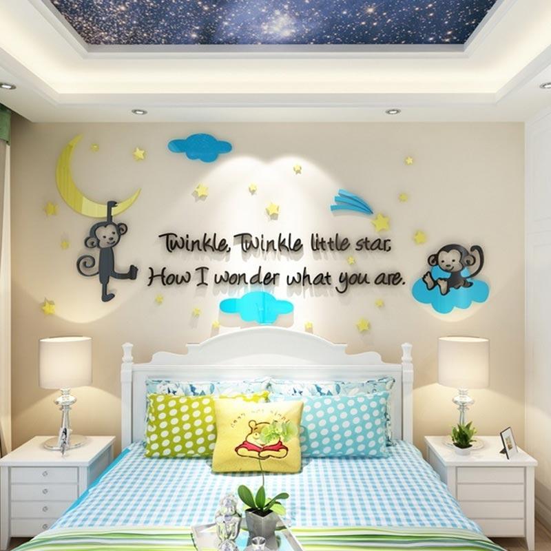 Bande Dessinée 3D Miroir Acrylique Singe Arbres Hauteur Sticker Mural Bébé  Chambre Enfants Chambre Stickers Muraux Décor À La Maison Mur Art Sticker