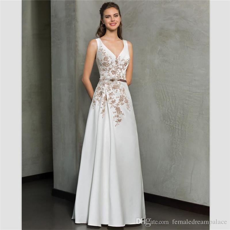 3d5c727deb32 2018 Elegant White Chiffon A Line Wedding Dresses Sexy Deep V Neck ...