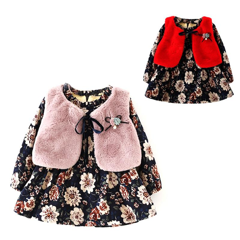 23cc99592 2019 Fall Winter Wear Brand 2018 New Baby Girls Clothes Long Sleeved Floral  Plus Velvet Dress+Fur Vest Suit Girls Clothes Sets Y18102008 From Gou08