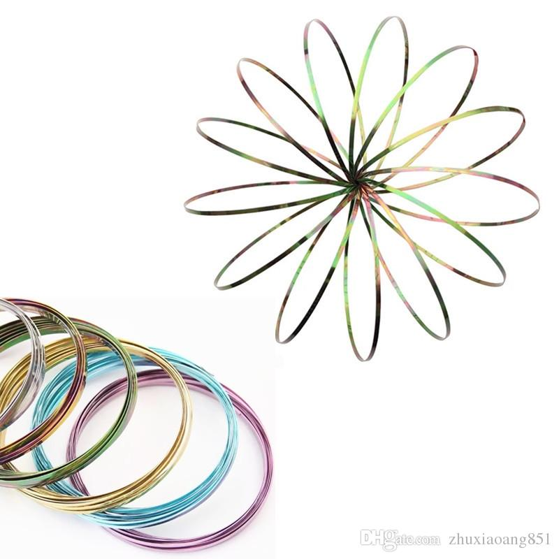 Multicolor Flow Ring Metal Toys Kinetic Spring Funny Outdoor Game