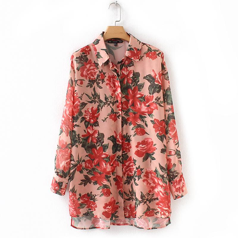 9d412d4c77 2019 2018 Women Red Shirt Flower Printed Floral Shirt Loose Large Size Wide  Shoulder Turn Down Collar Office Lady Style Drop Ship From Laftfly, ...