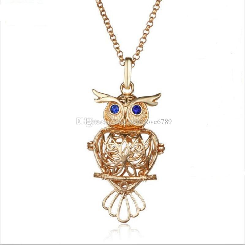 2018 big owl pearl accessories Disffuser Dolphins Necklace Locket Essential Oil Diffuser Necklaces Hollow out Locket Cage Pendant Necklace