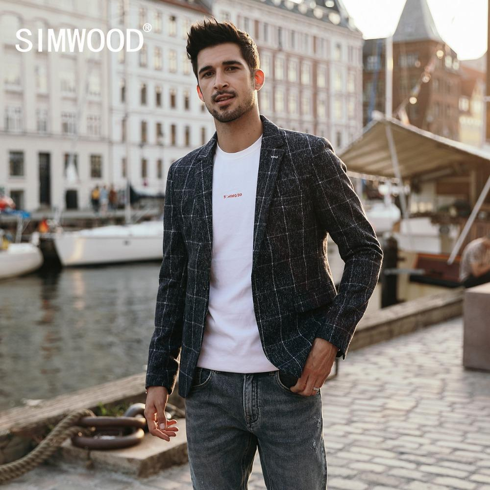 2019 Simwood 2018 Blazers Men Smart Casual Plaid Suits Woolen Coats