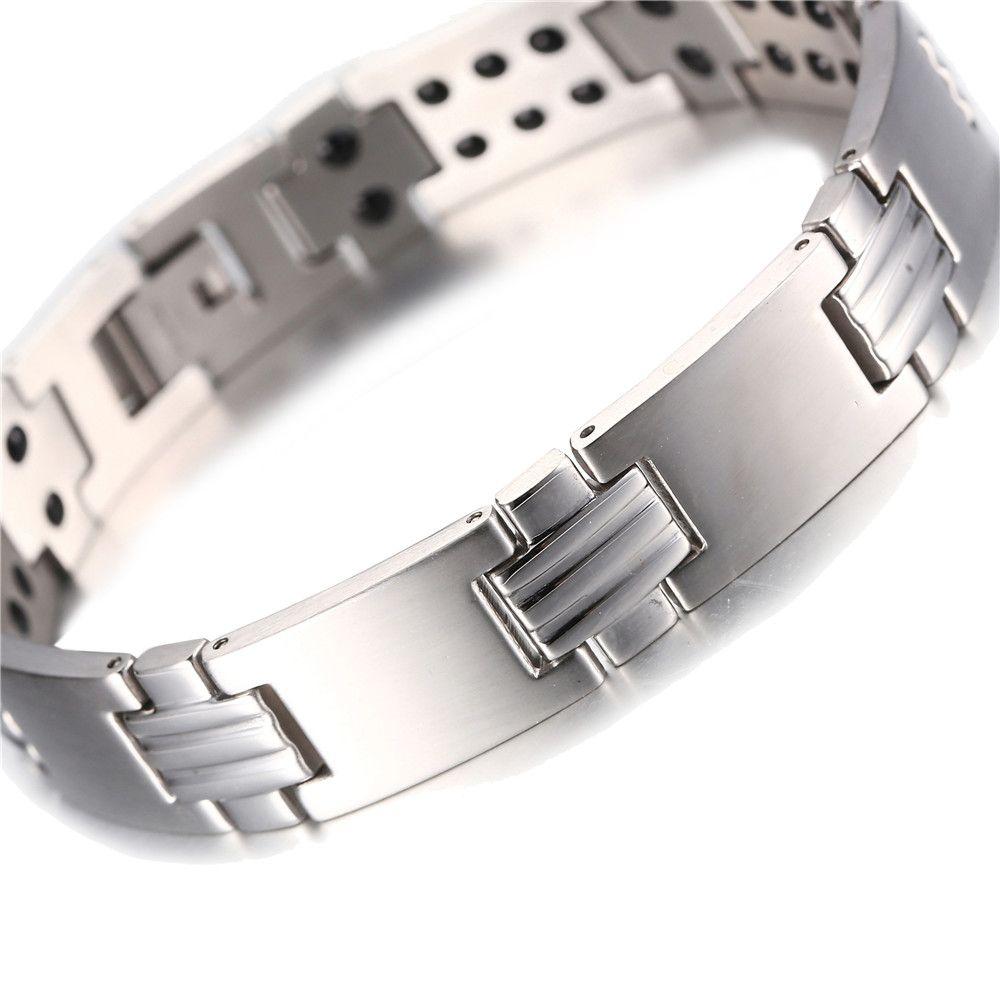 Cor de prata de Aço Inoxidável Bio Energy Power Holograma Magnético Energia Saúde Pulseira Para Homens Mulheres presente atacado