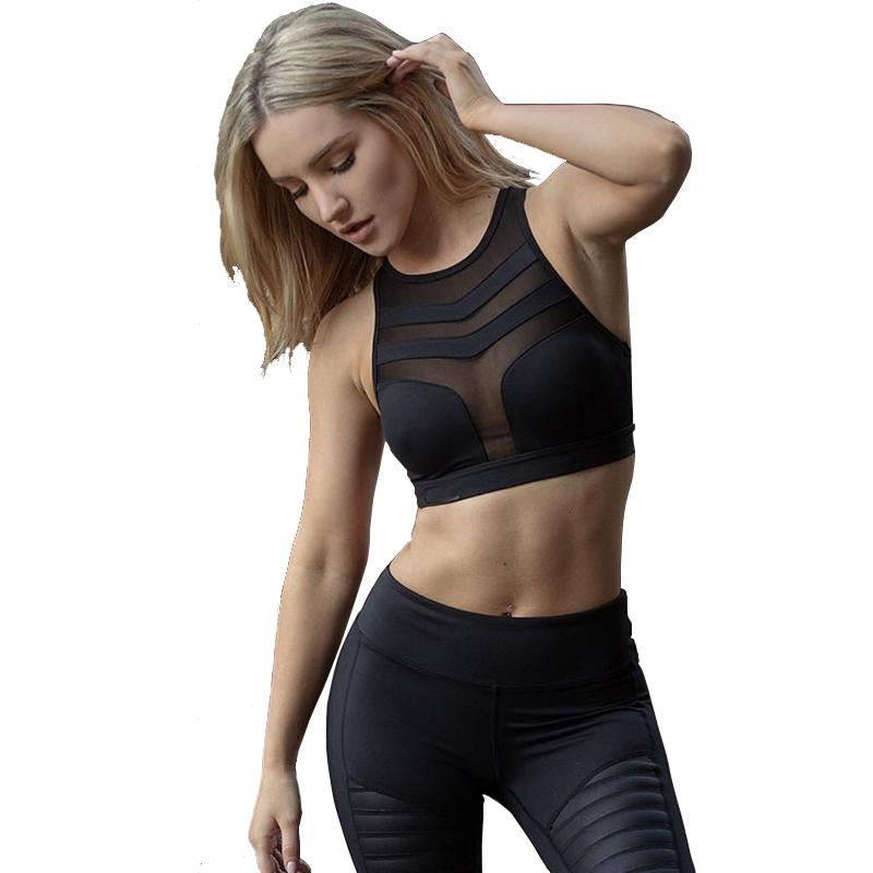 d7134ab264923 2019 Sexy Racerback Fitness Bras Top Women Push Up Padded Tank Tops Workout  Breathable Mesh Patchwork Hollow Out Sporting Bras From Wudun